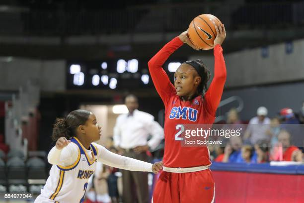 Southern Methodist Mustangs guard Ariana Whitfield looks to pass the ball during the game between SMU and Cal State Bakersfield on December 3 2017 at...