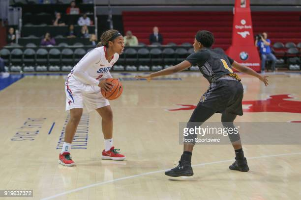 Southern Methodist Mustangs guard Ariana Whitfield looks to pass the ball during the game between SMU and Wichita State on February 17 2018 at Moody...