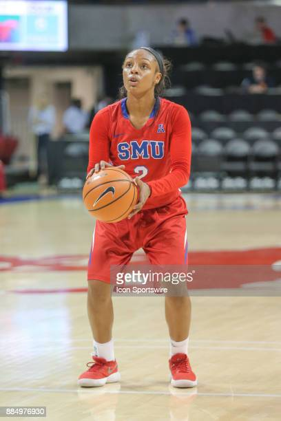 Southern Methodist Mustangs guard Ariana Whitfield shoots a free throw during the game between SMU and Cal State Bakersfield on December 3 2017 at...