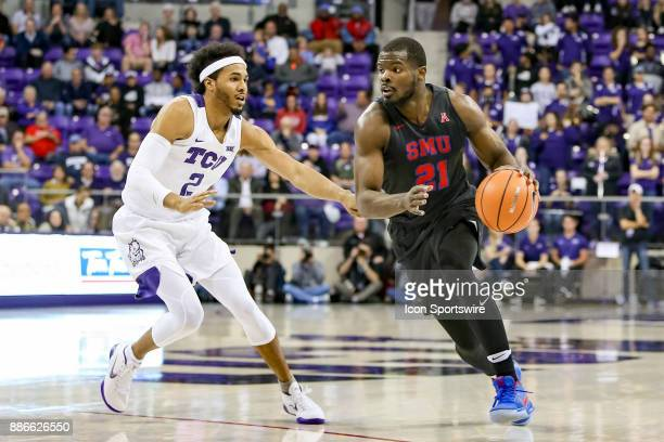 Southern Methodist Mustangs guard Ben Emelogu II handles the ball during the game between the SMU Mustangs and TCU Horned Frogs on December 5 2017 at...