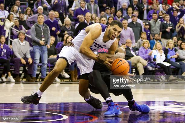 Southern Methodist Mustangs guard Ben Emelogu II is called for a flagrant 1 foul on TCU Horned Frogs guard Kenrich Williams during the game between...
