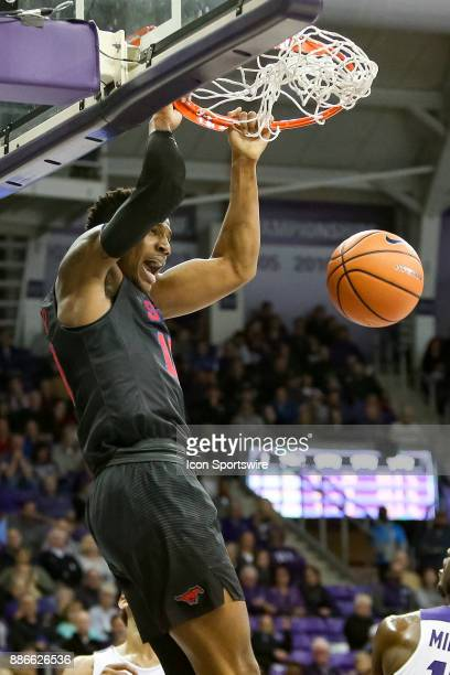 Southern Methodist Mustangs guard Jarrey Foster dunks the ball during the game between the SMU Mustangs and TCU Horned Frogs on December 5 2017 at Ed...
