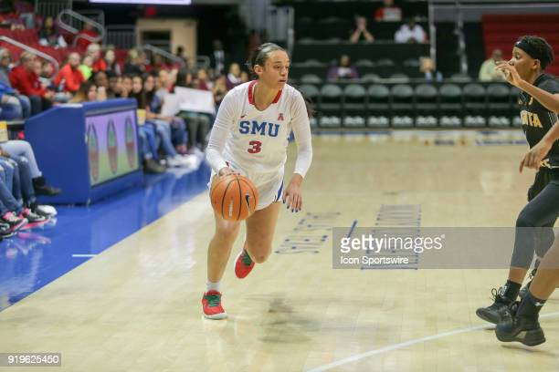 Southern Methodist Mustangs guard McKenzie Adams brings the ball up court during the game between SMU and Wichita State on February 17 2018 at Moody...