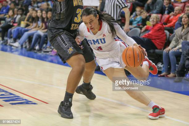 Southern Methodist Mustangs guard McKenzie Adams drives to the basket during the game between SMU and Wichita State on February 17 2018 at Moody...