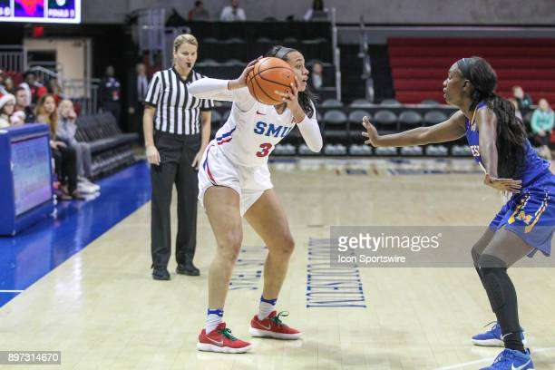 Southern Methodist Mustangs guard McKenzie Adams looks to pass the ball during the women's game between SMU and McNeese State on December 22 at Moody...