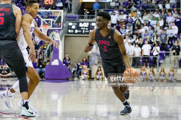Southern Methodist Mustangs guard Shake Milton handles the ball during the first half between the SMU Mustangs and TCU Horned Frogs on December 5...