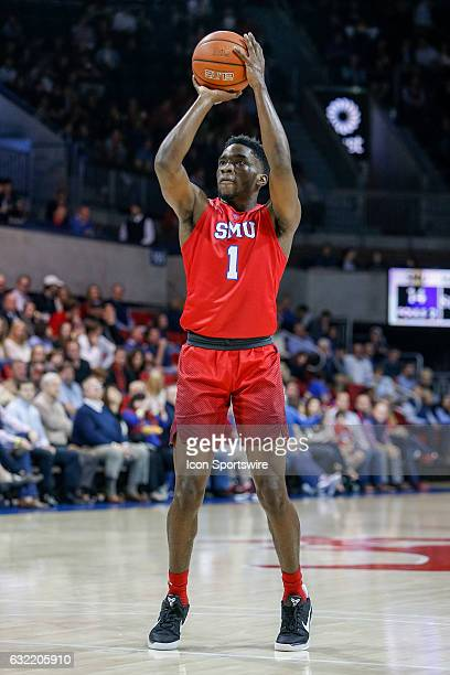 Southern Methodist Mustangs guard Shake Milton shoots a technical foul free throw during the NCAA basketball game between the University of...