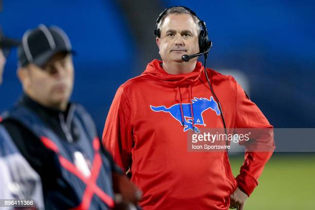 Southern Methodist Mustangs head coach Sonny Dykes looks on during the DXL Frisco Bowl game between the Louisiana Tech Bulldogs and SMU Mustangs on...