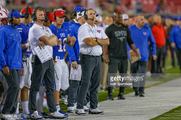 Southern Methodist Mustangs head coach Sonny Dykes looks on from the sidelines during the football game between the TCU Horned Frogs and SMU Mustangs...