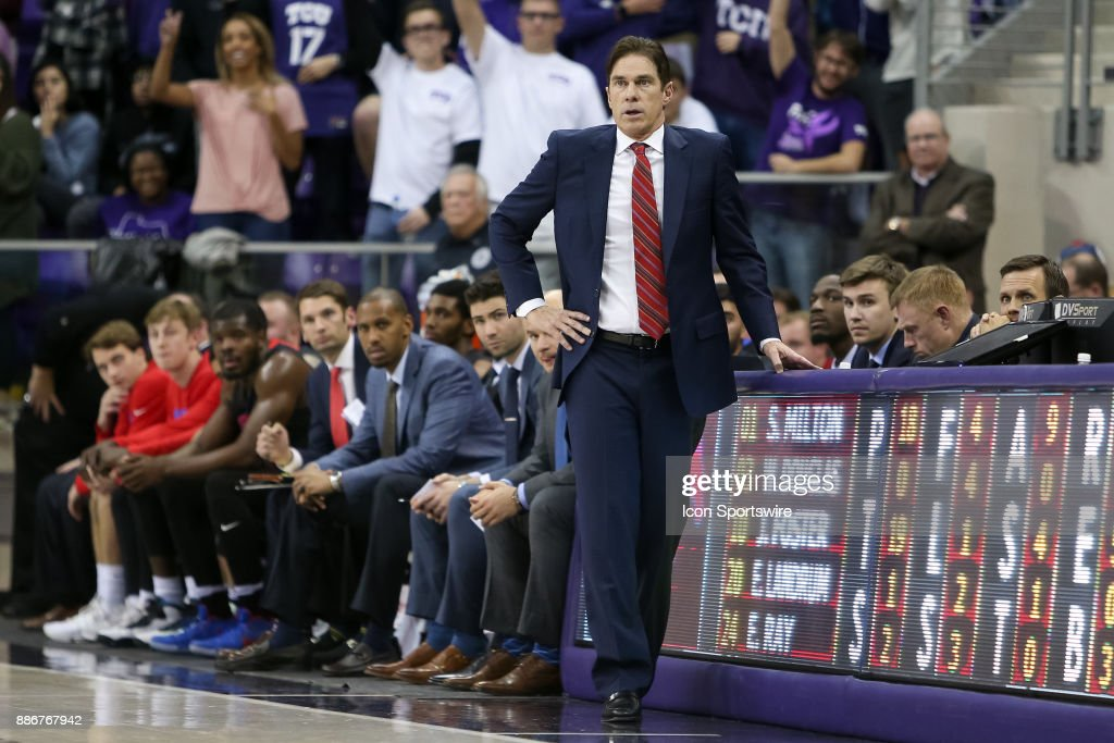 Southern Methodist Mustangs head coach Tim Jankovich during the game between the SMU Mustangs and TCU Horned Frogs on December 5, 2017 at Ed & Rae Schollmaier Arena in Fort Worth, TX.
