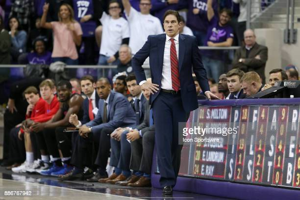 Southern Methodist Mustangs head coach Tim Jankovich during the game between the SMU Mustangs and TCU Horned Frogs on December 5 2017 at Ed Rae...