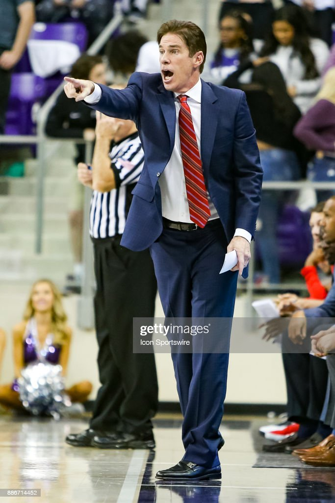 Southern Methodist Mustangs head coach Tim Jankovich reacts during the game between the SMU Mustangs and TCU Horned Frogs on December 5, 2017 at Ed & Rae Schollmaier Arena in Fort Worth, TX.