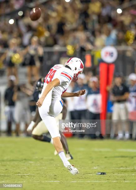 Southern Methodist Mustangs kicker Kevin Robeldo during the football game between the UCF and SMU on October 6 2018 at Bright House Network Stadium...