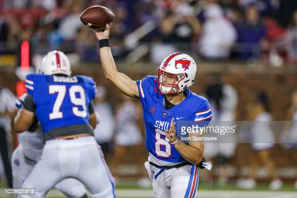 Southern Methodist Mustangs quarterback Ben Hicks throws a pass during the football game between the TCU Horned Frogs and SMU Mustangs on September 7...