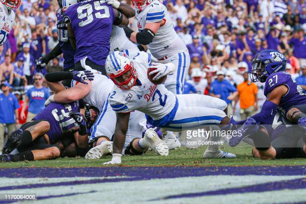 Southern Methodist Mustangs running back Ke'Mon Freeman scores a touchdown during the game between the TCU Horned Frogs and SMU Mustangs on September...