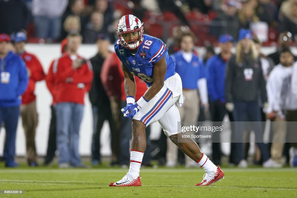 Southern Methodist Mustangs wide receiver Courtland Sutton (16) lines up during the DXL Frisco Bowl game between the Louisiana Tech Bulldogs and SMU Mustangs on December 20, 2017 at Toyota Stadium in Frisco, TX.