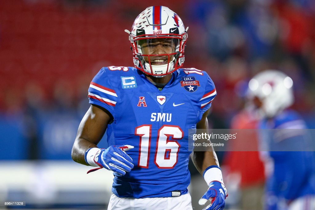 Southern Methodist Mustangs wide receiver Courtland Sutton (16) warms up prior to the DXL Frisco Bowl game between the Louisiana Tech Bulldogs and SMU Mustangs on December 20, 2017 at Toyota Stadium in Frisco, TX.
