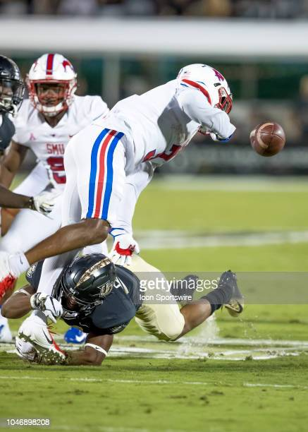 Southern Methodist Mustangs wide receiver James Proche fumbles the kick off return during the football game between the UCF and SMU on October 6 2018...