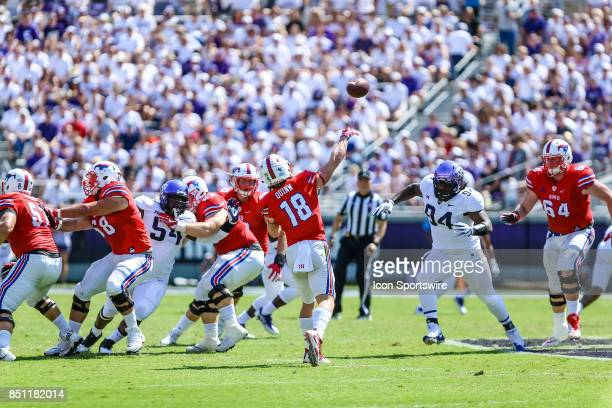 Southern Methodist Mustangs wide receiver Trey Quinn passes the football downfield during a halfback option play during the game between the TCU...