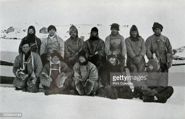 Southern Party 1912', . Chief steward W Archer, steward FJ Hooper, biologist Edward Nelson, surgeon Edward Atkinson, zoologist Apsley Cherry-Garrard,...