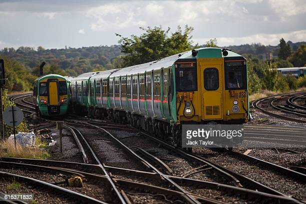 Southern rail trains arriving and leaving Selhurst station on October 18 2016 in London England Staff at Southern rail have begun a second threeday...