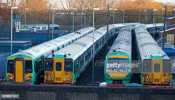 Southern Rail trains sit at the Selhurst depot as train drivers stage a second day of industrial action in London on December 14 2016 Hundreds of...