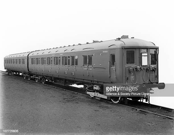 Southern Railway electric multiple unit 2-BIL carriage set, nos. 12149 and 10682. Two coach unit no. 2116 with steel roof. Southern Railway electric...
