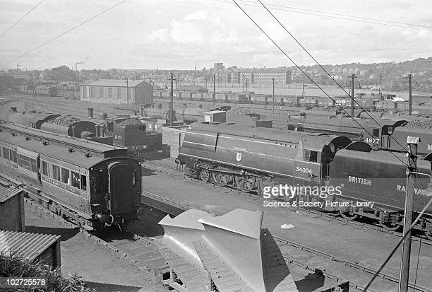 Southern Railway West Country Pacific no 34004 Yeovil' at Perth Locomotive Shed after arrival from Inverness 14th July 1948
