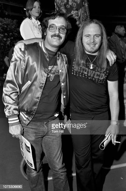 Southern rock band The Outlaws' road manager Ken Krauss and Lynyrd Skynyrd singerfrontman Ronnie Van Zant are seen together before the Atlanta Braves...