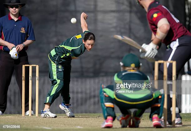 Southern Stars Julie Hunter bowls during the cricket match between the National Indigenous Development Squad and the Southern Stars at Allan Border...