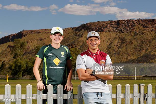 Southern Stars player Jess Jonassen and Queensland Bulls/Australia player Usman Khawaja pose fir a photo during the 20415 Imparja Cup on February 12...