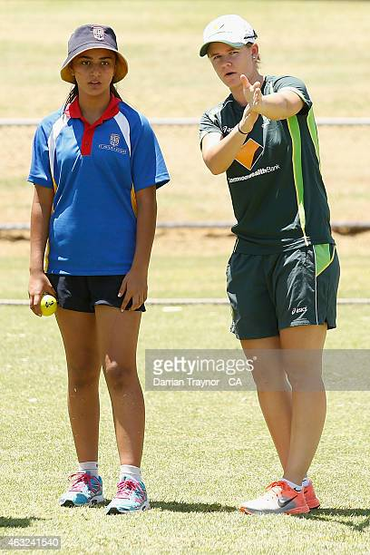 Southern Stars player Jess Jonassen does some coaching at the Milo T/20 Blast School Cup during the 20415 Imparja Cup on February 12 2015 in Alice...