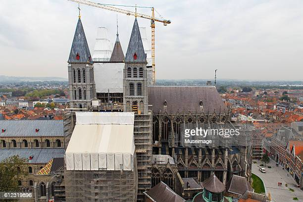 Southern transept and towers Tournai Cathedral in maintenance