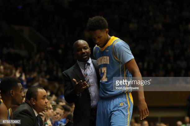 Southern University Jaguars forward Jared Sam and Southern University Jaguars head coach Morris Scott and during the 1st half of the Southern...