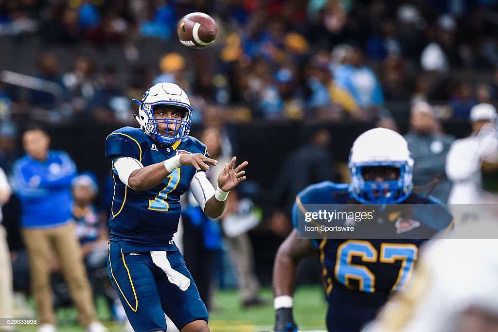 Southern University Jaguars Quarterback Austin Howard (7) Drops Back To  Pass During The Game