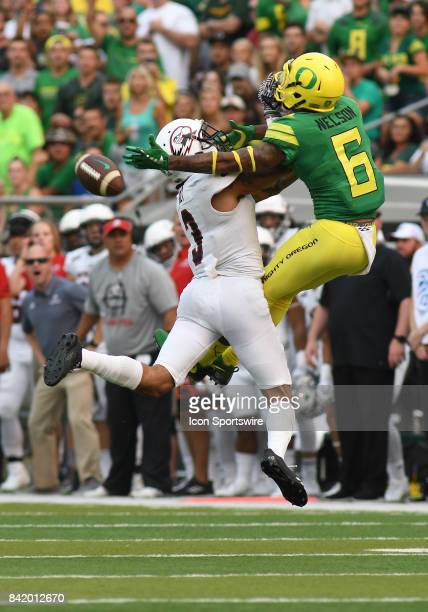Southern Utah CB Elijah Holt breaks up a pass intended for University of Oregon WR Charles Nelson during an NCAA football game between the Southern...