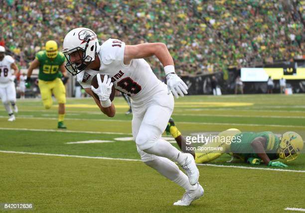 Southern Utah WR Landen Measom makes a catch in the first quarter during an NCAA football game between the Southern Utah Thunderbirds and Oregon...