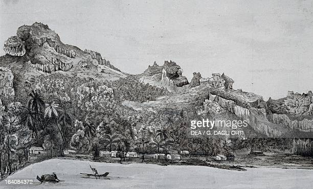 Southern view of Maupiti island Society Islands engraving from Voyage around the world 18221825 by Louis Isidore Duperrey Polynesia 19th century