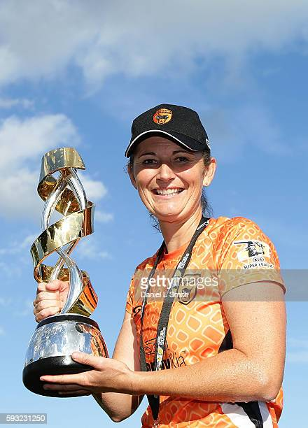 Southern Vipers captain Charlotte Edwards poses for a portrait with the trophy after victory in the final's match against Western Storm during the...