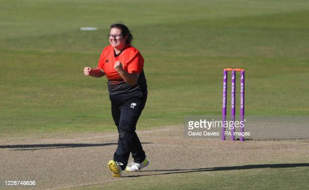 Southern Vipers Charlotte Taylor celebrates the wicket of Northern Diamonds Jenny Gunn during the Rachael Heyhoe Flint Trophy Final at Edgbaston,...