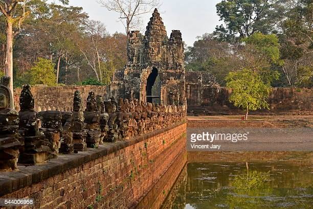 Southgate bridge and gateway Angkor Siem Reap Cambodia