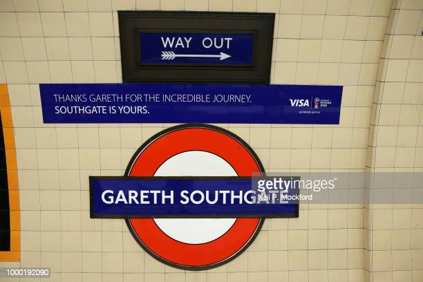 Southgate Underground tube station on the Piccadilly Line in Enfield has been rebranded with Gareth Southgate's name by TFL on July 16, 2018 in...