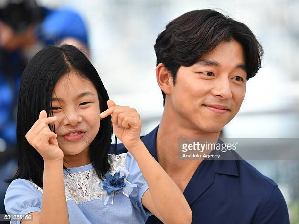 SouthKorean actor Gong Yoo and SouthKorean actress Kim SuAn pose during the photocall for the film 'BuSanHaeng ' at the 69th annual Cannes Film...