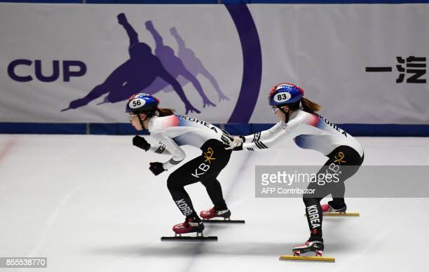 SouthKorean Ye Jin Kim and Ah Reum Noh change during the ISU World Cup Short Track in BOK Hall of Budapest on September 29 2017 during their Olympic...