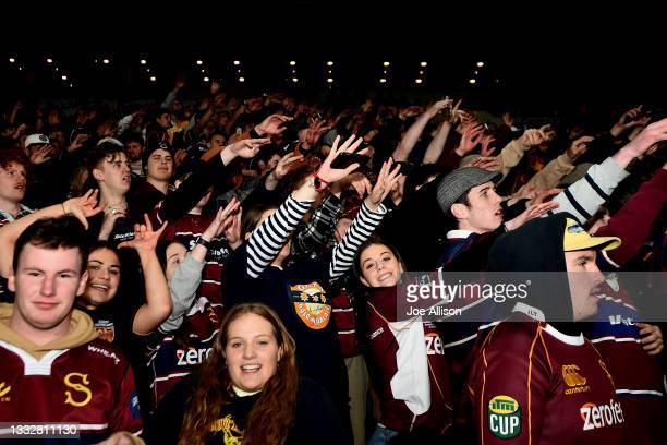 Southland fans cheer on their team during the round one Bunnings NPC match between Otago and Southland at Forsyth Barr Stadium, on August 07 in...