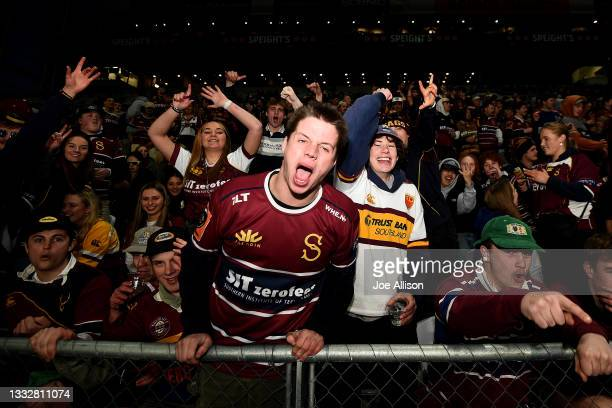 Southland fans watch on during the round one Bunnings NPC match between Otago and Southland at Forsyth Barr Stadium, on August 07 in Dunedin, New...