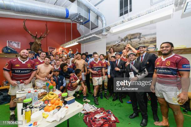 Southland pose for a team photo in the dressing room after ending their losing streak of 27 games during the round 7 Mitre 10 Cup match between...