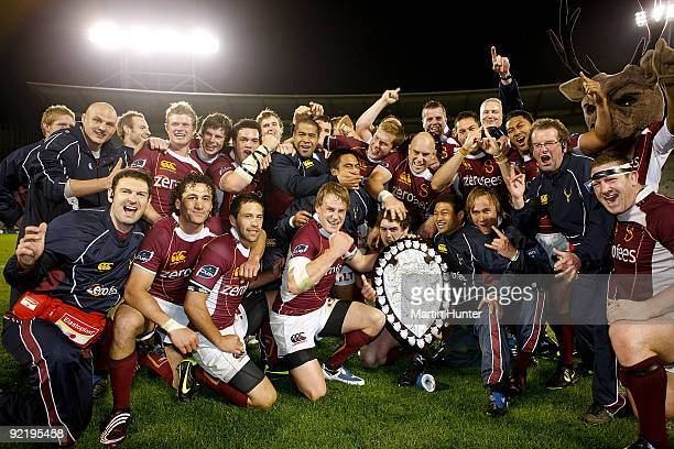 Southland rugby team celebrate with the Ranfurly Shield after the Air New Zealand Cup match between Canterbury and Southland at AMI Stadium on...