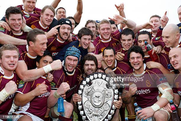 Southland rugby team celebrate with the Ranfurly Shield after the round three ITM Cup match between Canterbury and Southland at AMI Stadium on July...