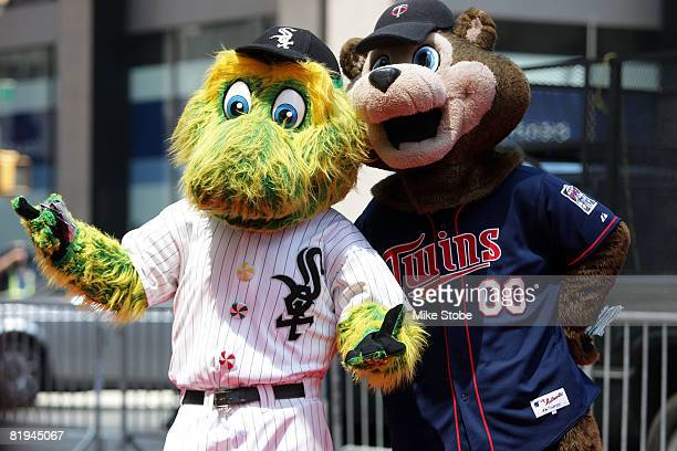 Southpaw the mascot of the Chicago White Sox and TC Bear mascot for the Minnesota Twins during the MLB AllStar Game Red Carpet Parade on July 15 2008...